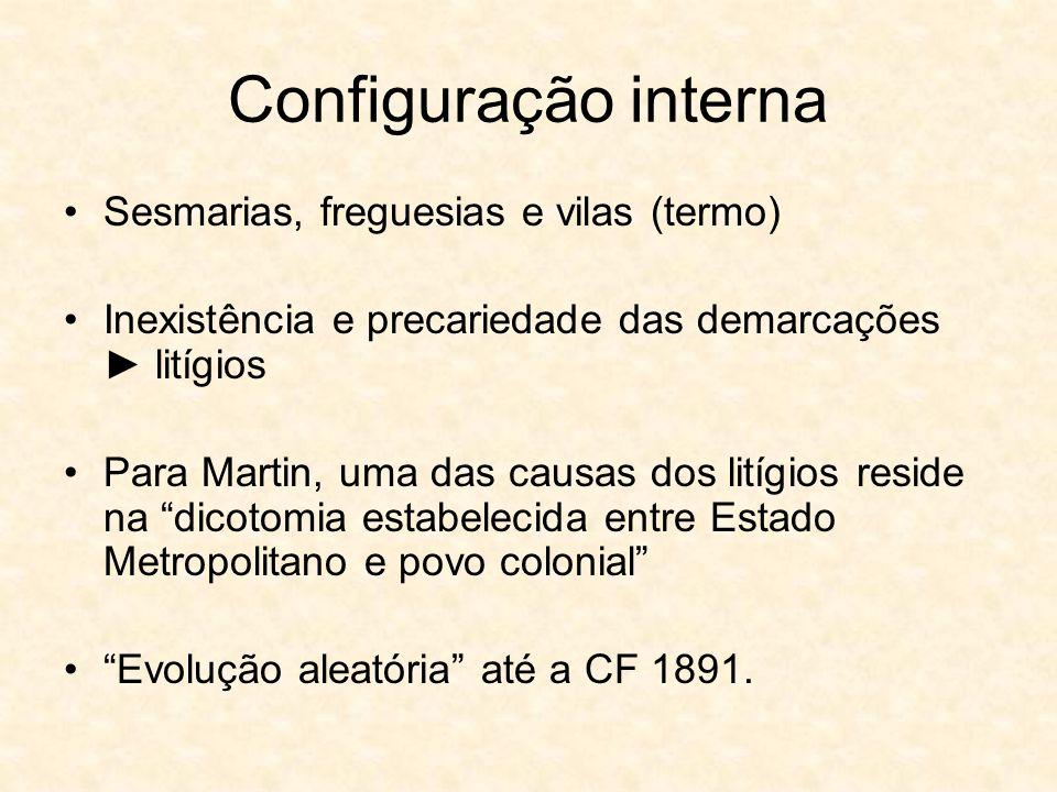 Configuração interna Sesmarias, freguesias e vilas (termo)