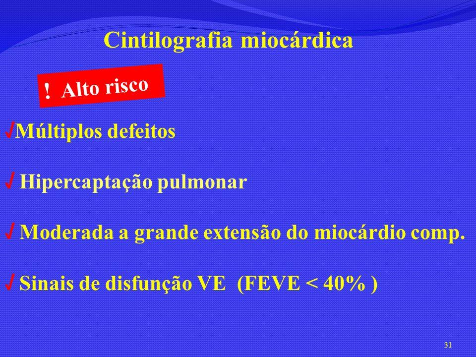 ! Alto risco Cintilografia miocárdica √Múltiplos defeitos