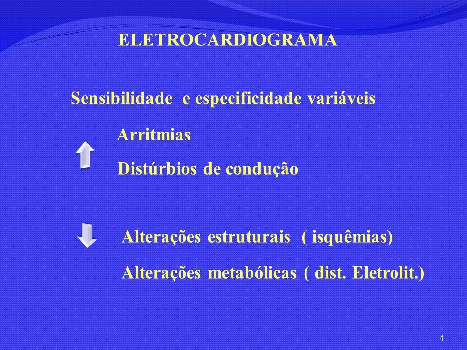 ELETROCARDIOGRAMA Sensibilidade e especificidade variáveis. Arritmias. Distúrbios de condução. Alterações estruturais ( isquêmias)