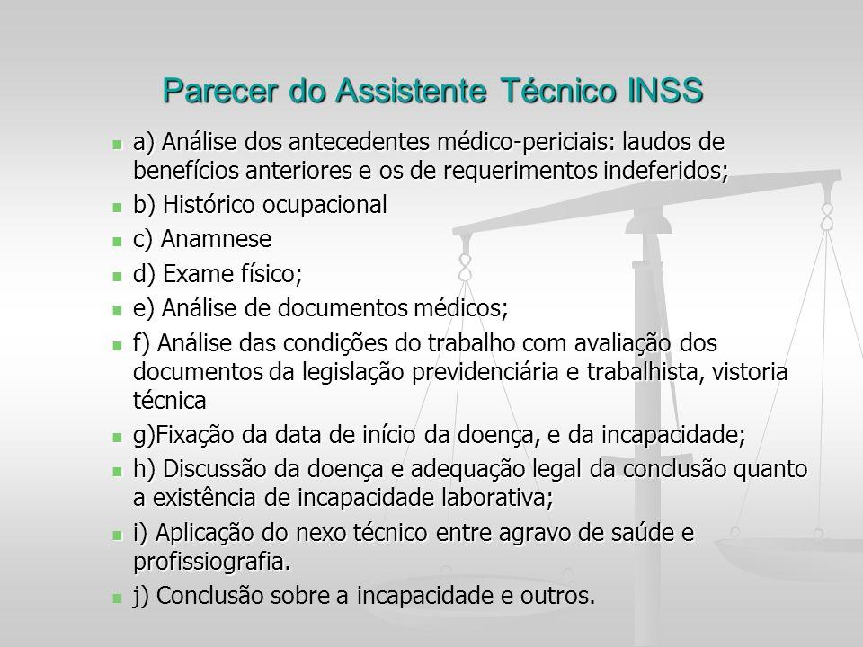 Parecer do Assistente Técnico INSS