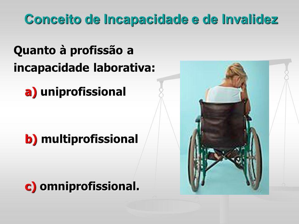 Conceito de Incapacidade e de Invalidez
