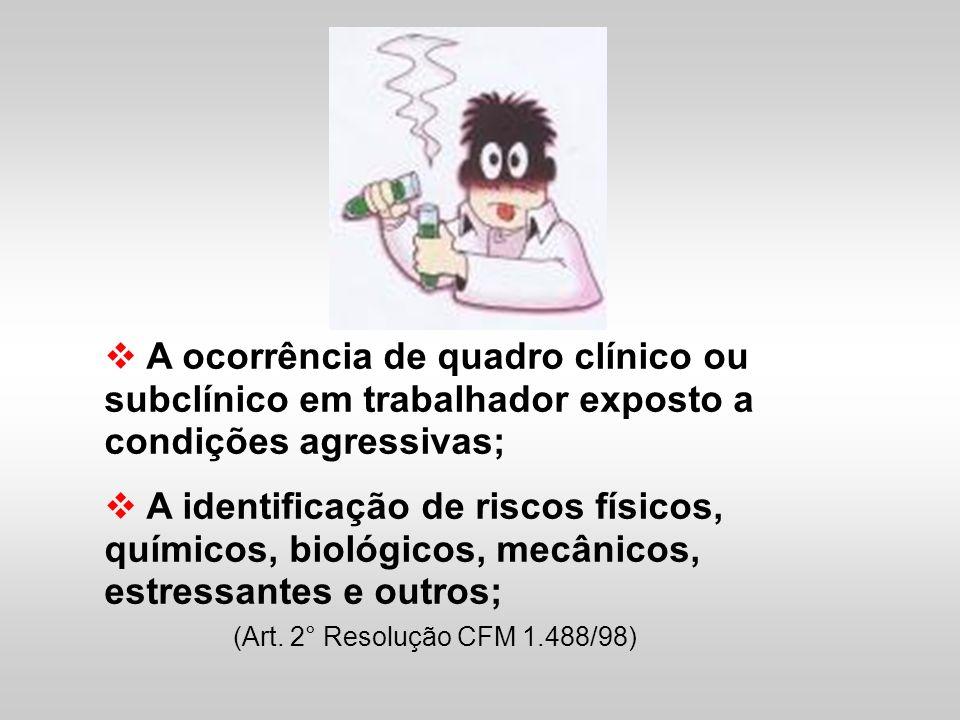 A ocorrência de quadro clínico ou subclínico em trabalhador exposto a condições agressivas;