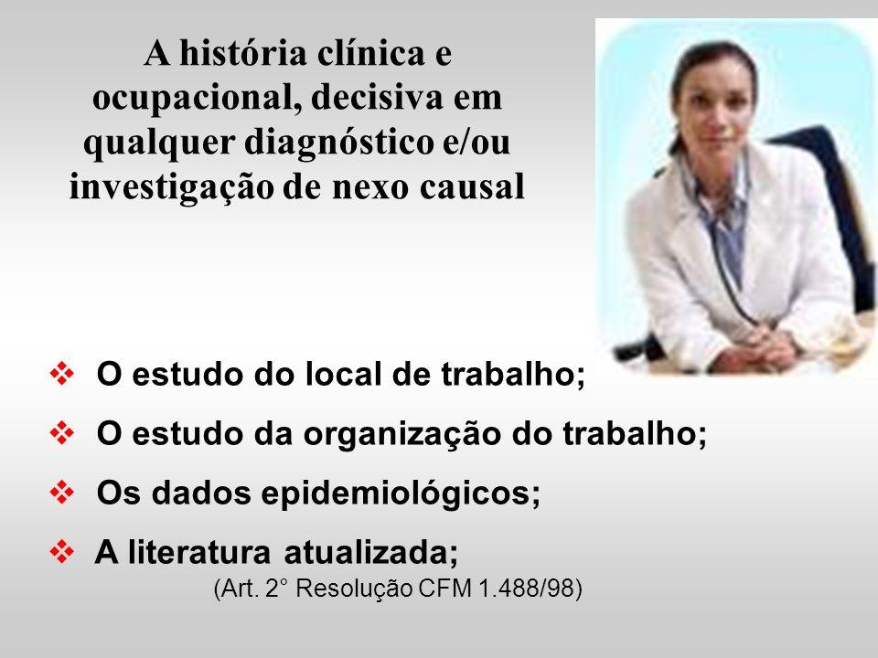 A história clínica e ocupacional, decisiva em qualquer diagnóstico e/ou investigação de nexo causal