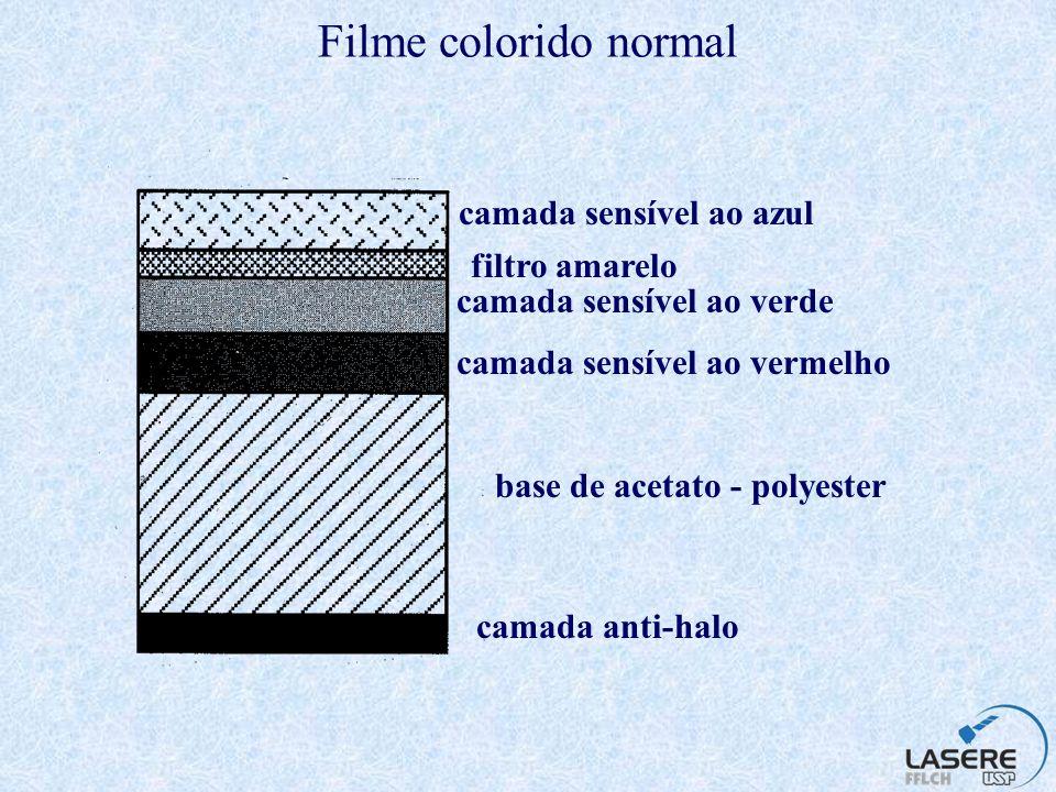 Filme colorido normal camada sensível ao azul filtro amarelo
