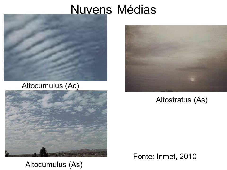 Nuvens Médias Altocumulus (Ac) Altostratus (As) Fonte: Inmet, 2010
