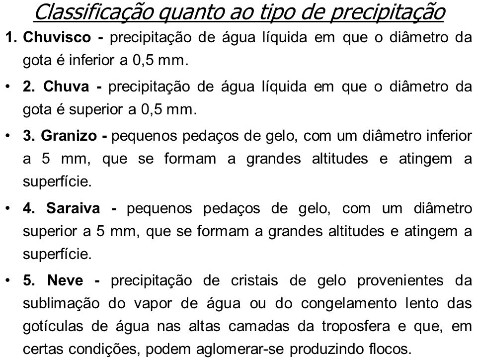 Classificação quanto ao tipo de precipitação