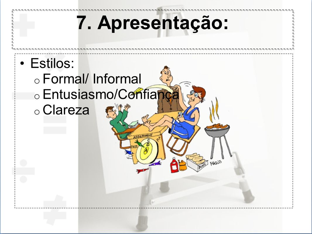 7. Apresentação: Estilos: Formal/ Informal Entusiasmo/Confiança
