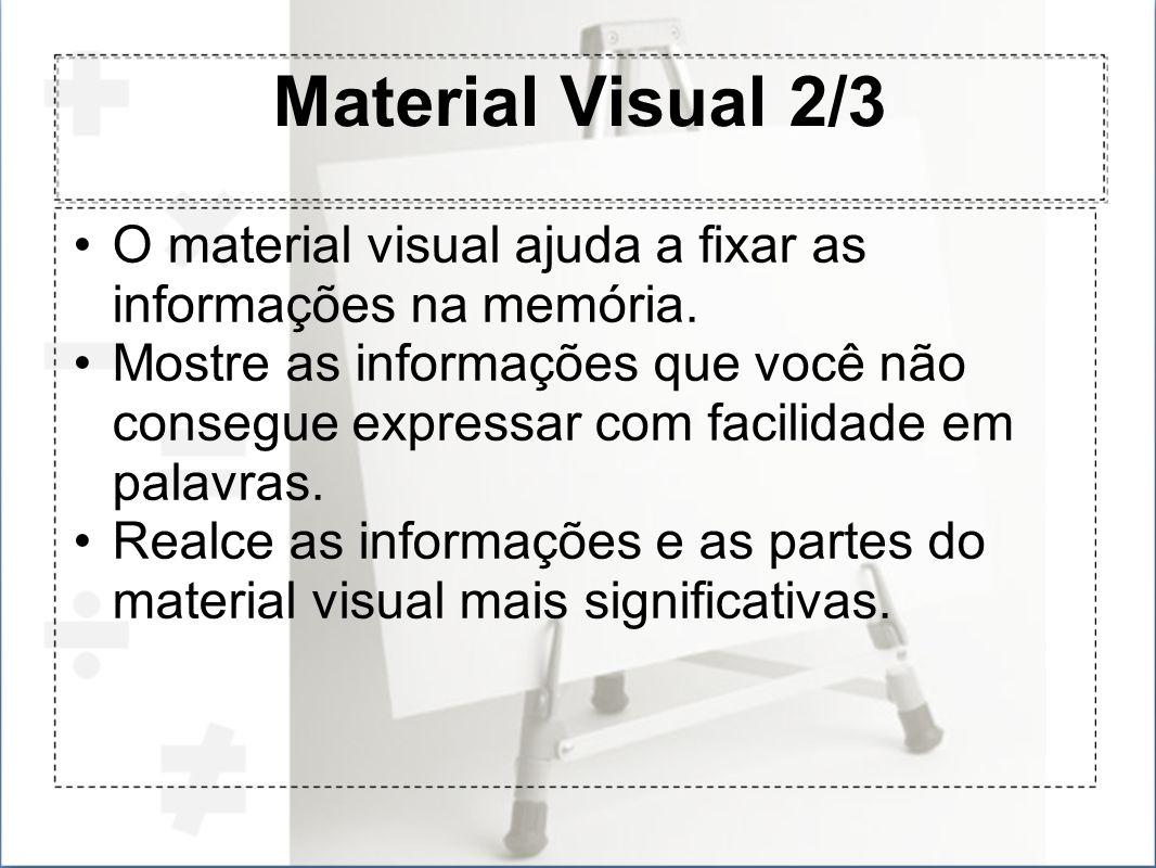 Material Visual 2/3 O material visual ajuda a fixar as informações na memória.