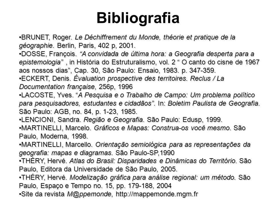 Bibliografia BRUNET, Roger. Le Déchiffrement du Monde, théorie et pratique de la géographie. Berlin, Paris, 402 p, 2001.