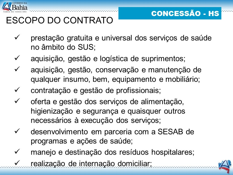 ESCOPO DO CONTRATO CONCESSÃO - HS