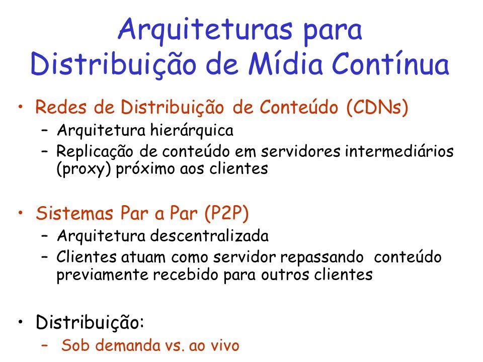Arquiteturas para Distribuição de Mídia Contínua