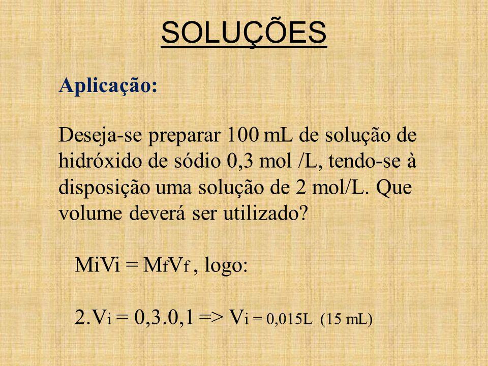 SOLUÇÕES Aplicação: Deseja-se preparar 100 mL de solução de