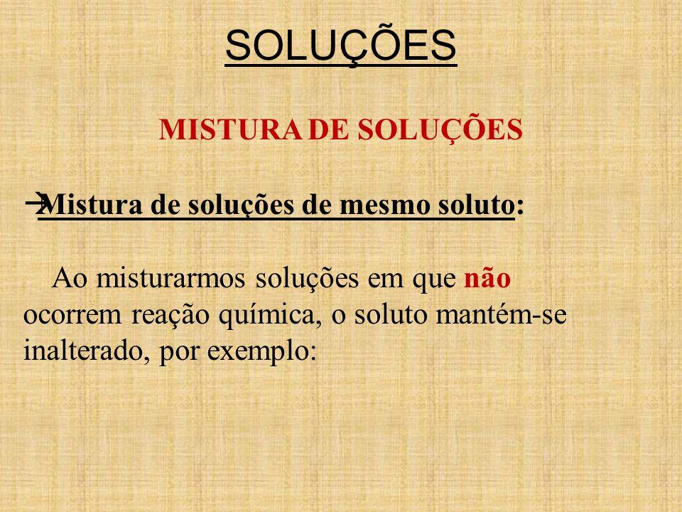 SOLUÇÕES MISTURA DE SOLUÇÕES Mistura de soluções de mesmo soluto: