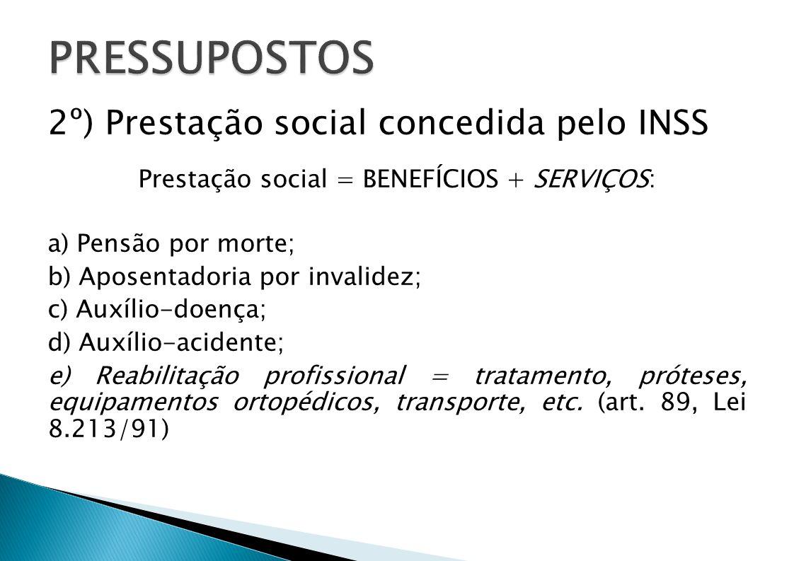 Prestação social = BENEFÍCIOS + SERVIÇOS: