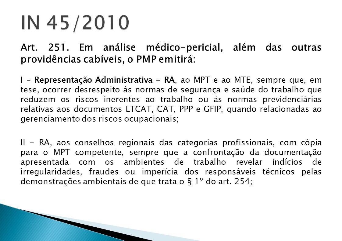 IN 45/2010 Art. 251. Em análise médico-pericial, além das outras providências cabíveis, o PMP emitirá: