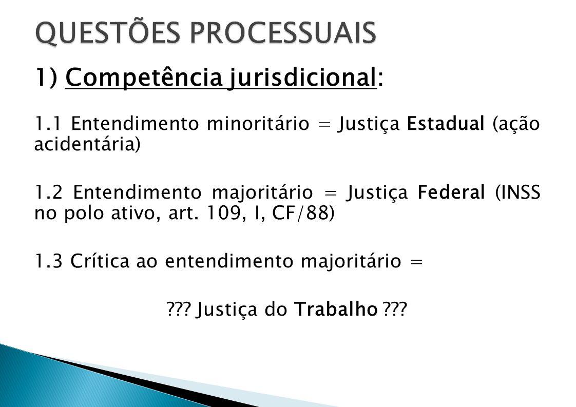 QUESTÕES PROCESSUAIS 1) Competência jurisdicional: