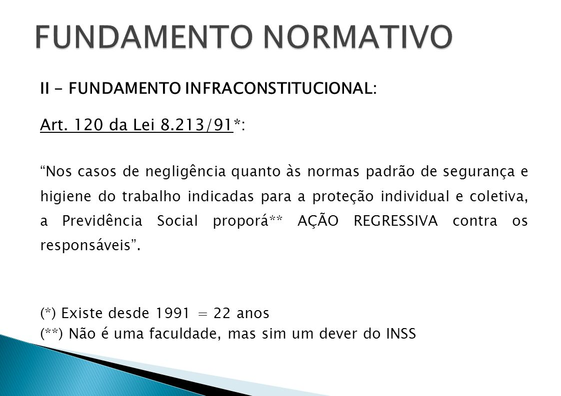 FUNDAMENTO NORMATIVO II - FUNDAMENTO INFRACONSTITUCIONAL: