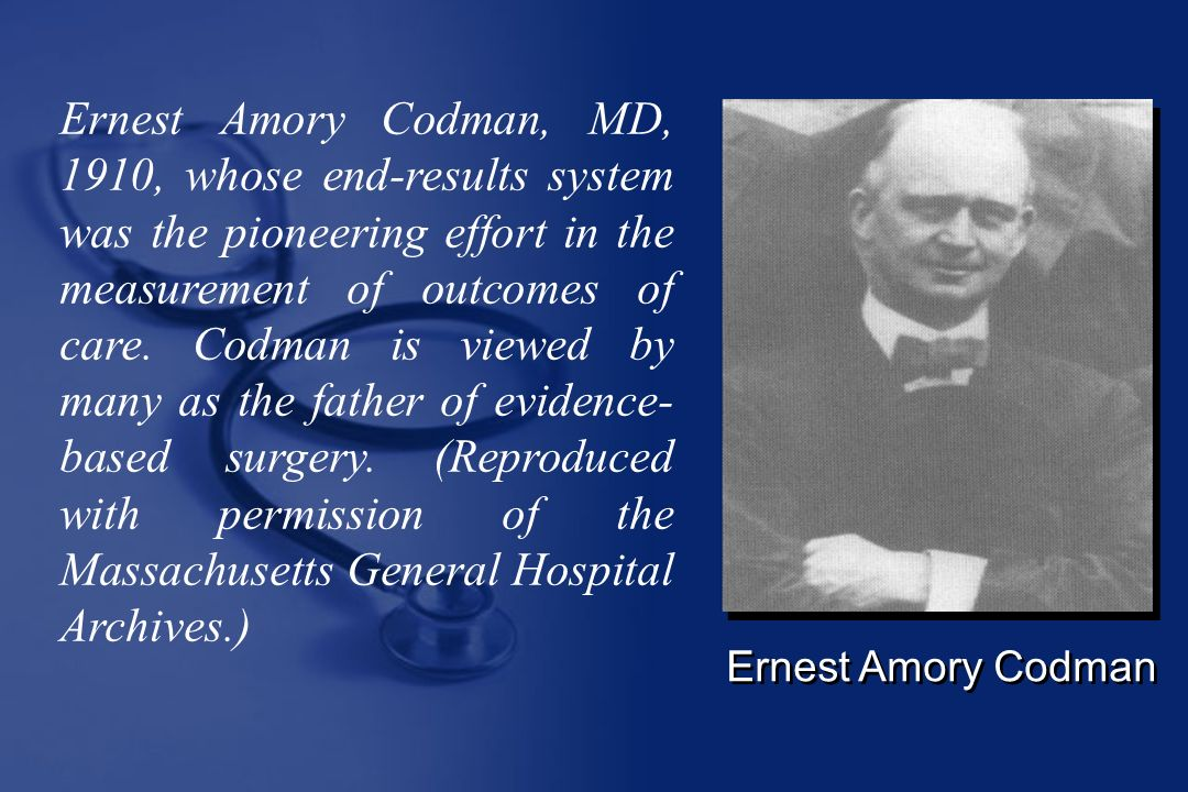 Ernest Amory Codman, MD, 1910, whose end-results system was the pioneering effort in the measurement of outcomes of care. Codman is viewed by many as the father of evidence-based surgery. (Reproduced with permission of the Massachusetts General Hospital Archives.)