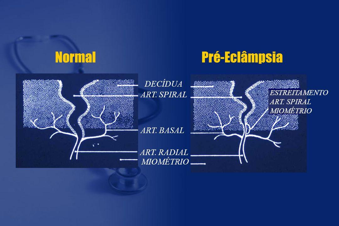 Normal Pré-Eclâmpsia DECÍDUA ART. SPIRAL ART. BASAL ART. RADIAL