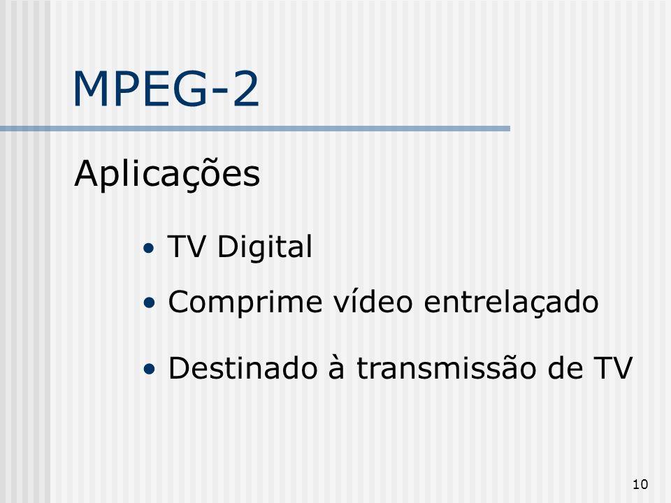 MPEG-2 Aplicações Comprime vídeo entrelaçado