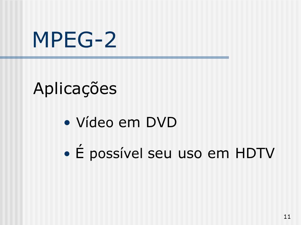 MPEG-2 Aplicações Vídeo em DVD É possível seu uso em HDTV