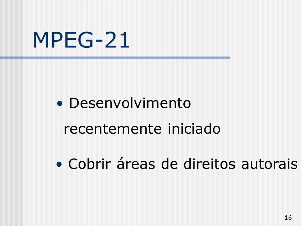 MPEG-21 Desenvolvimento recentemente iniciado