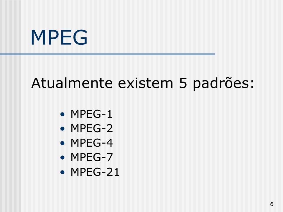 MPEG Atualmente existem 5 padrões: MPEG-1 MPEG-2 MPEG-4 MPEG-7 MPEG-21