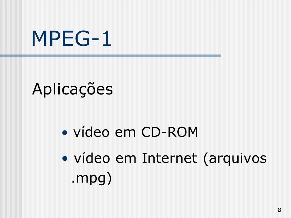 MPEG-1 Aplicações vídeo em CD-ROM vídeo em Internet (arquivos .mpg)