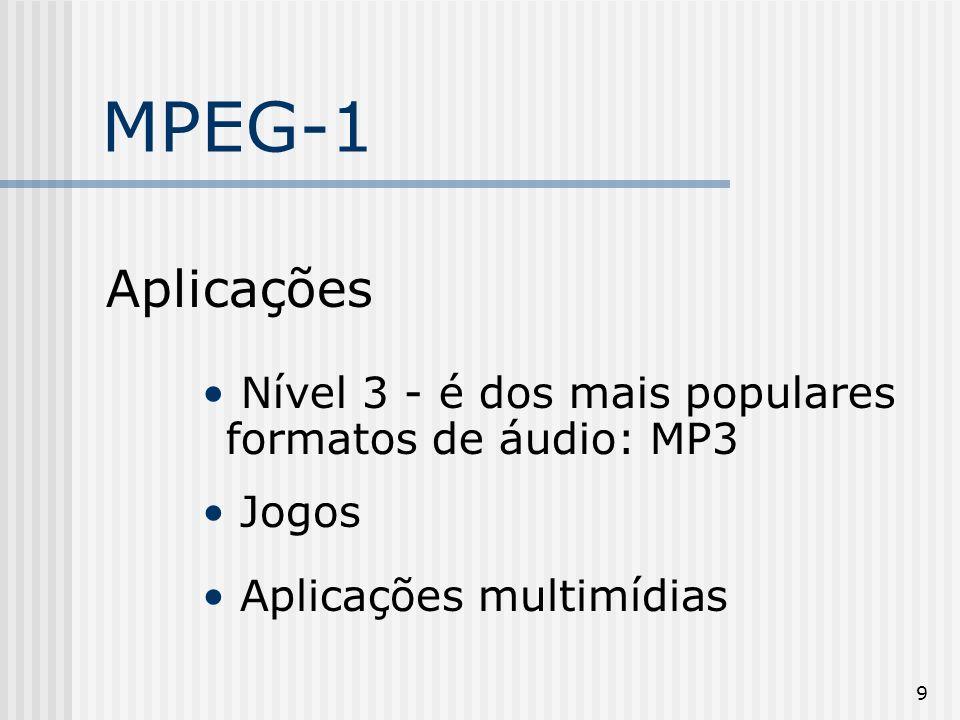 MPEG-1Aplicações.Nível 3 - é dos mais populares formatos de áudio: MP3.