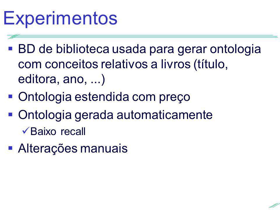 Experimentos BD de biblioteca usada para gerar ontologia com conceitos relativos a livros (título, editora, ano, ...)