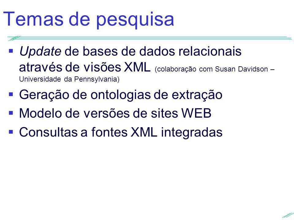 Temas de pesquisa Update de bases de dados relacionais através de visões XML (colaboração com Susan Davidson – Universidade da Pennsylvania)
