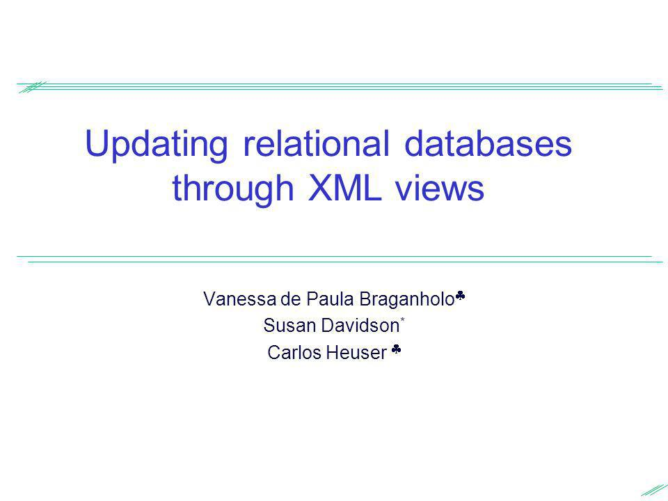 Updating relational databases through XML views