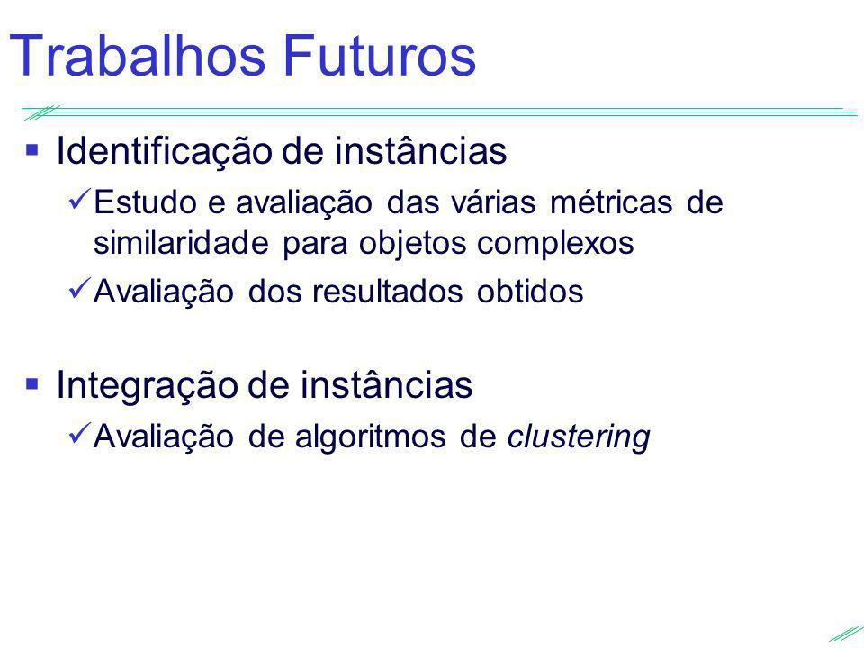 Trabalhos Futuros Identificação de instâncias Integração de instâncias