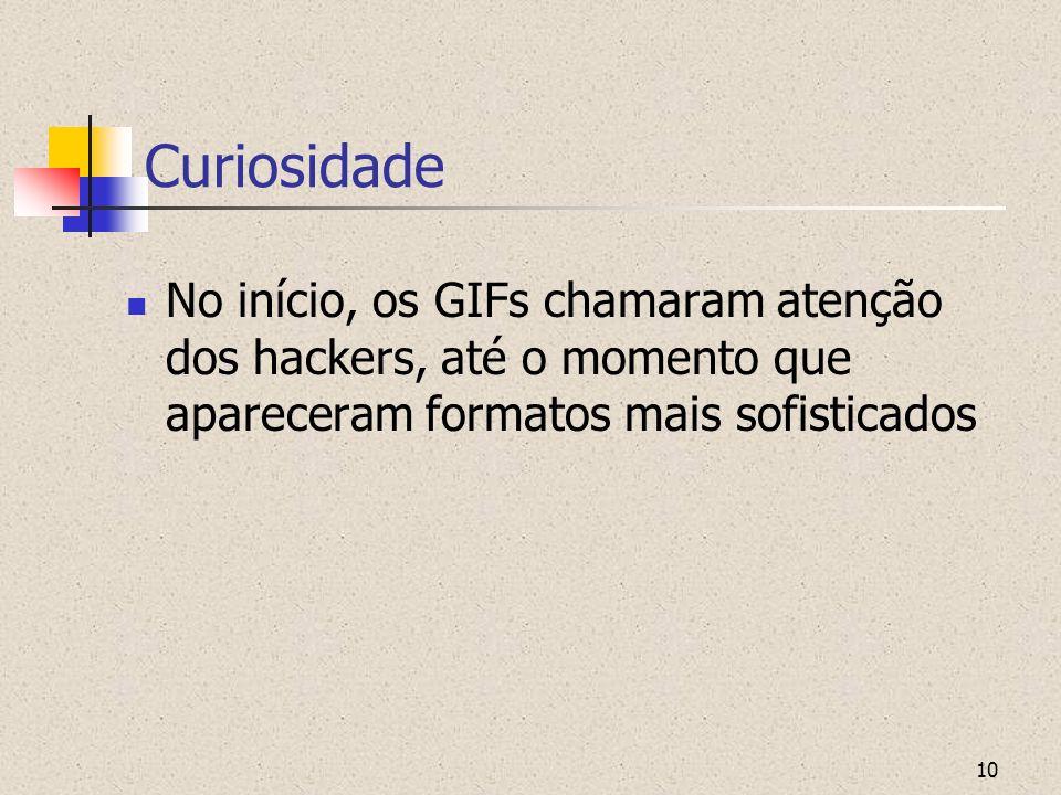 CuriosidadeNo início, os GIFs chamaram atenção dos hackers, até o momento que apareceram formatos mais sofisticados.