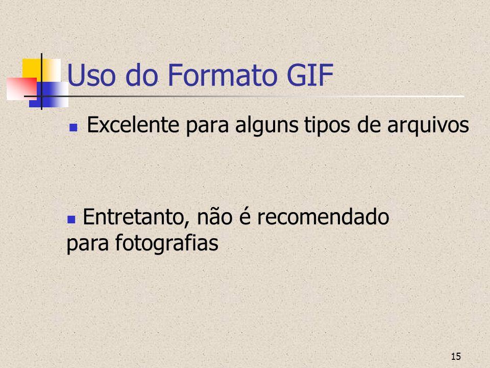 Uso do Formato GIF Excelente para alguns tipos de arquivos
