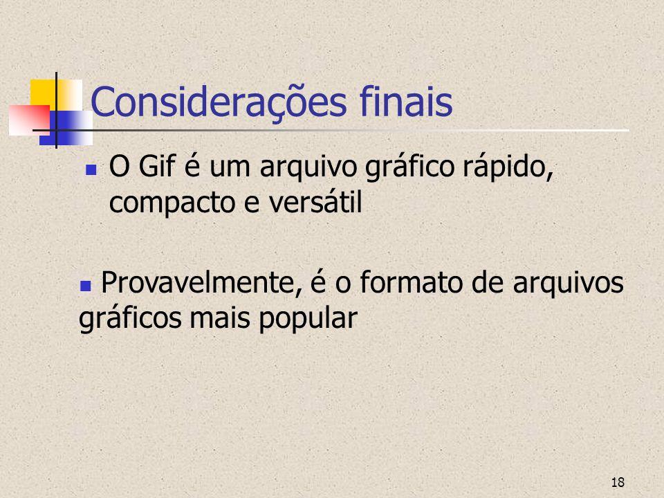 Considerações finais O Gif é um arquivo gráfico rápido, compacto e versátil.