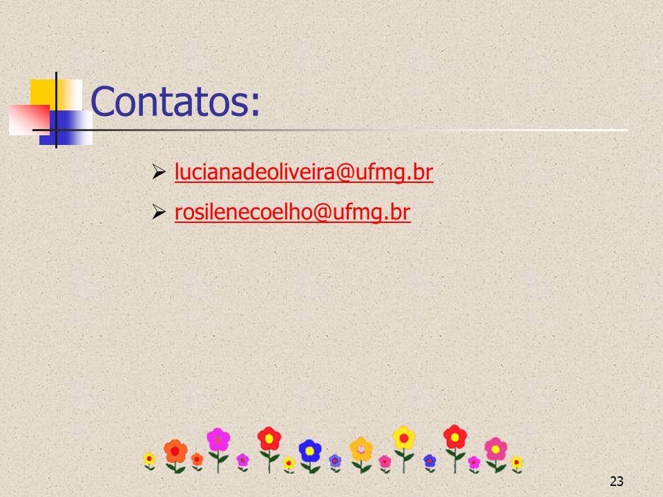 Contatos:  lucianadeoliveira@ufmg.br  rosilenecoelho@ufmg.br