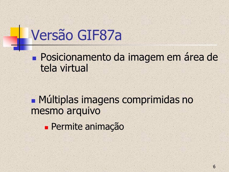 Versão GIF87a Posicionamento da imagem em área de tela virtual
