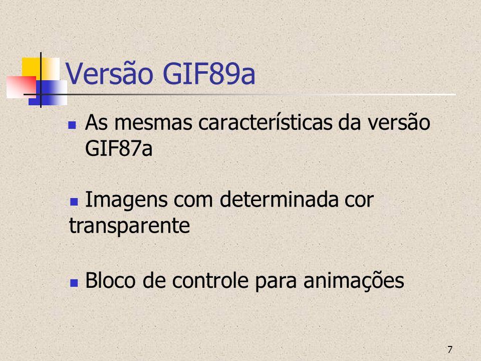 Versão GIF89a As mesmas características da versão GIF87a