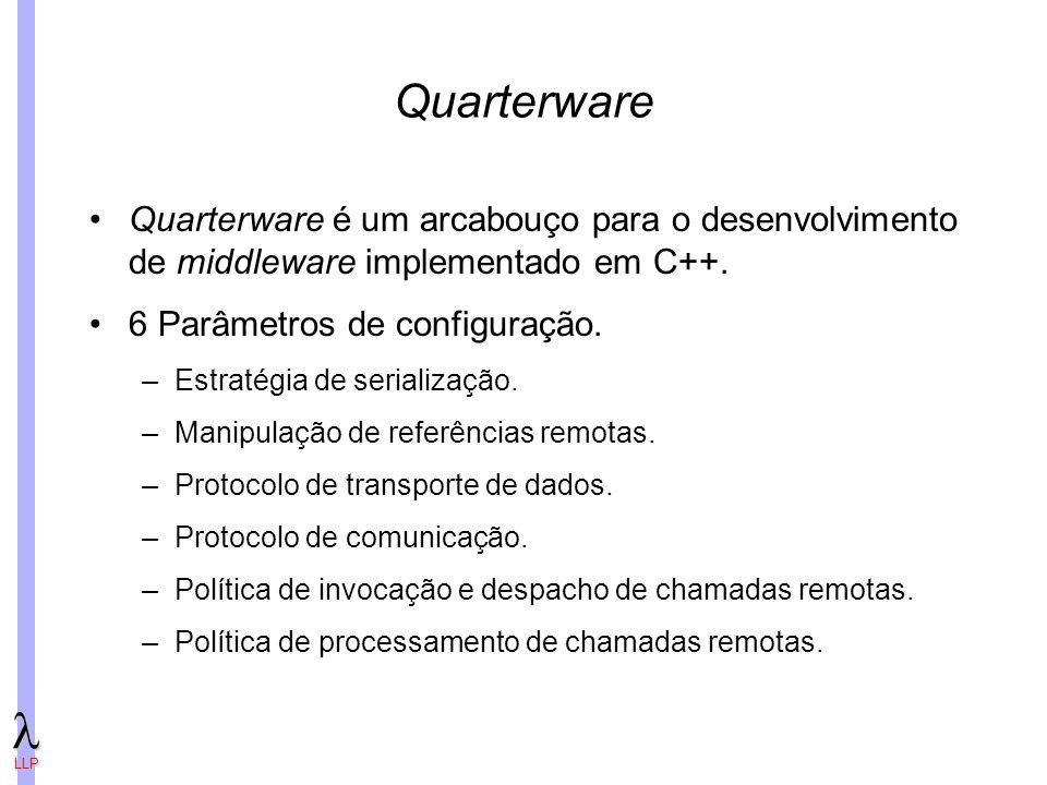 Quarterware Quarterware é um arcabouço para o desenvolvimento de middleware implementado em C++. 6 Parâmetros de configuração.