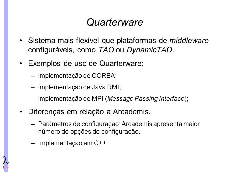 Quarterware Sistema mais flexível que plataformas de middleware configuráveis, como TAO ou DynamicTAO.