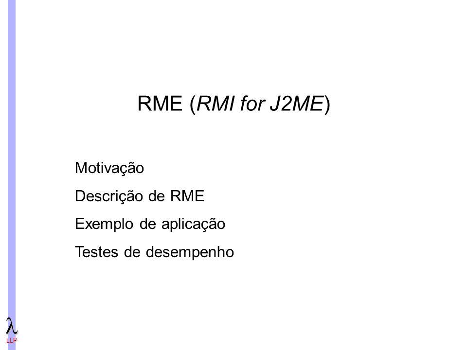 RME (RMI for J2ME) Motivação Descrição de RME Exemplo de aplicação