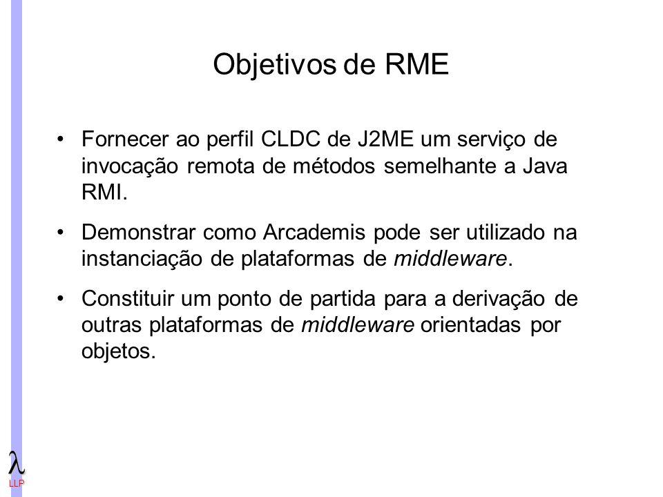 Objetivos de RME Fornecer ao perfil CLDC de J2ME um serviço de invocação remota de métodos semelhante a Java RMI.