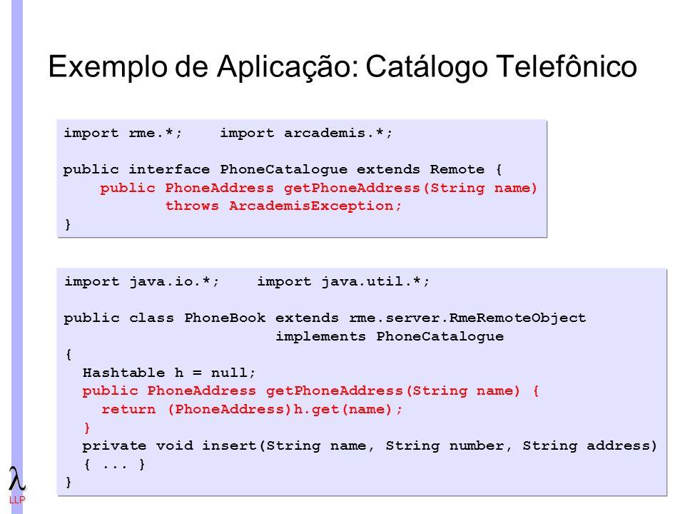 Exemplo de Aplicação: Catálogo Telefônico