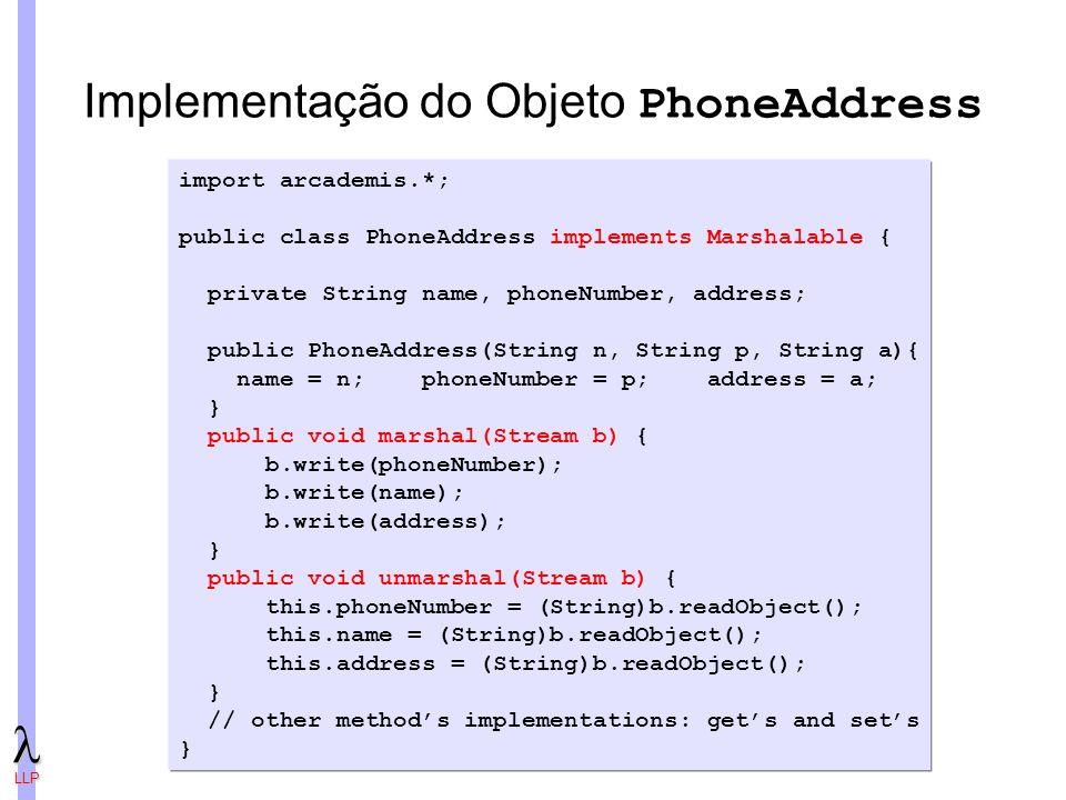 Implementação do Objeto PhoneAddress