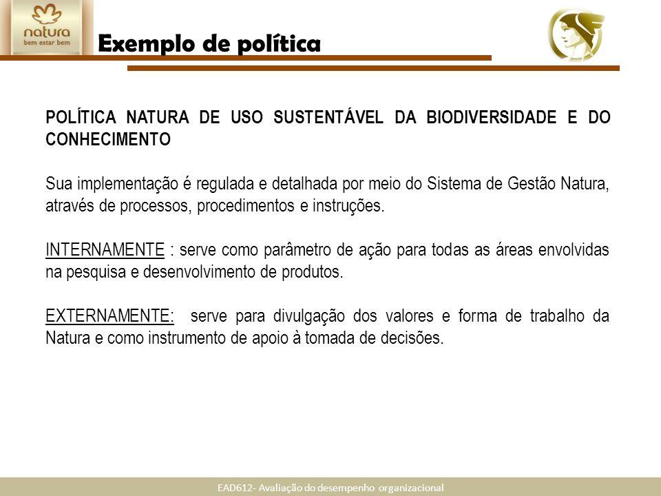Exemplo de políticaPOLÍTICA NATURA DE USO SUSTENTÁVEL DA BIODIVERSIDADE E DO CONHECIMENTO.