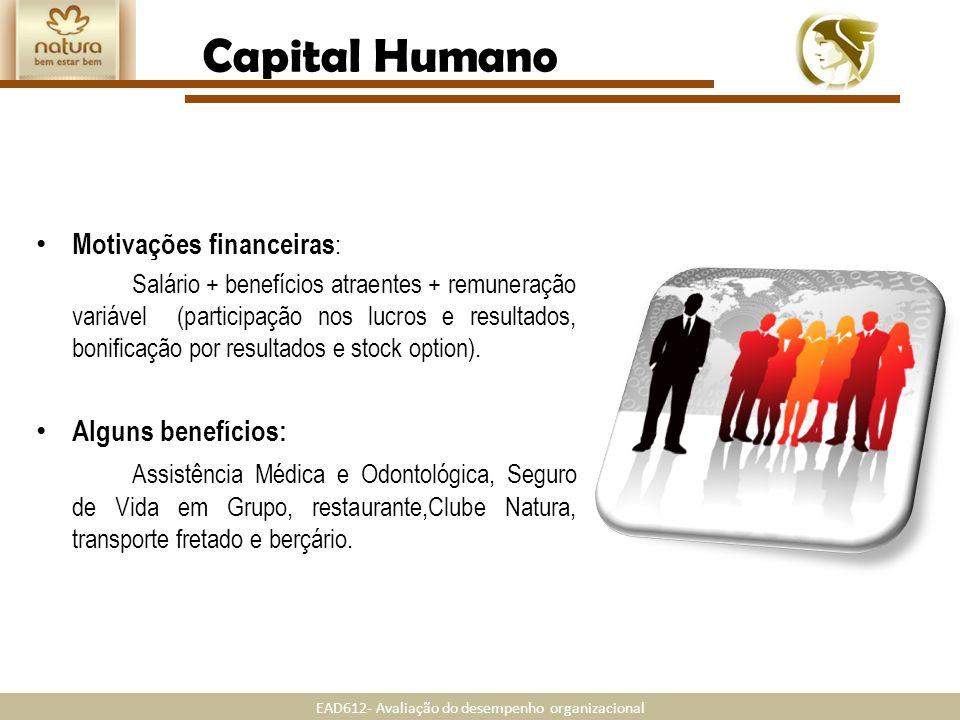 Capital Humano Motivações financeiras: Alguns benefícios: