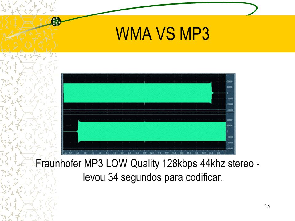 WMA VS MP3 Fraunhofer MP3 LOW Quality 128kbps 44khz stereo - levou 34 segundos para codificar.