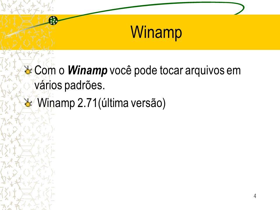 Winamp Com o Winamp você pode tocar arquivos em vários padrões.