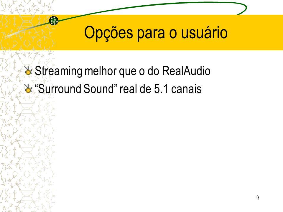 Opções para o usuário Streaming melhor que o do RealAudio